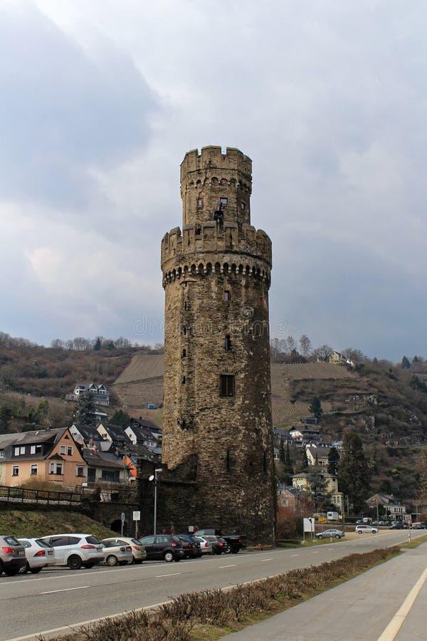 Ochsenturm, Oberwesel, el Rin, Alemania fotografía de archivo