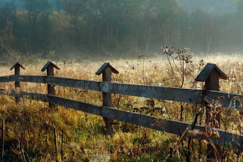 Ochtend Autumn Meadow Houten omheining Countrysied stock afbeeldingen