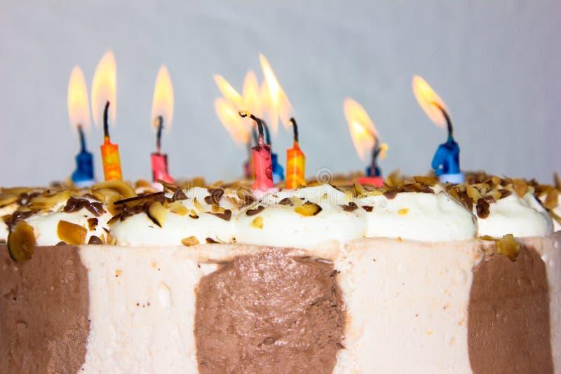 Ochtend bij het meer in Reuzebergen in Polen gelukwens van de kaarsen de gelukkige verjaardag royalty-vrije stock foto's