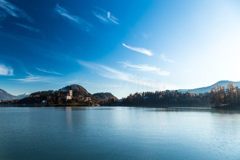 Ochtend bij het meer van Afgetapt royalty-vrije stock foto's