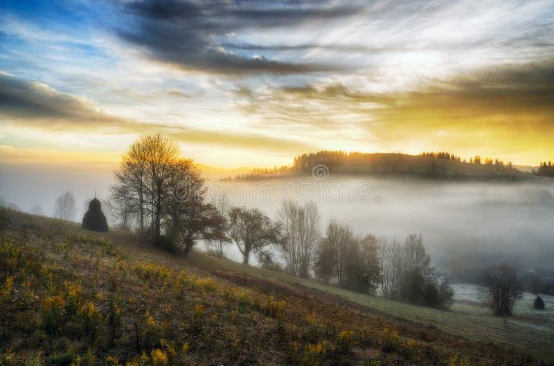 Ochtend een schilderachtige de herfstdageraad in de Karpatische Bergen royalty-vrije stock fotografie