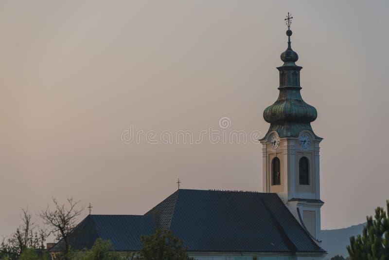 Ochtend in Medzev-dorp dichtbij Kosice-stad royalty-vrije stock afbeeldingen