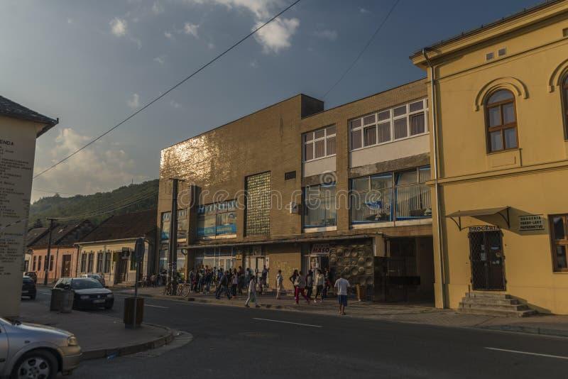 Ochtend in Medzev-dorp dichtbij Kosice-stad stock afbeelding