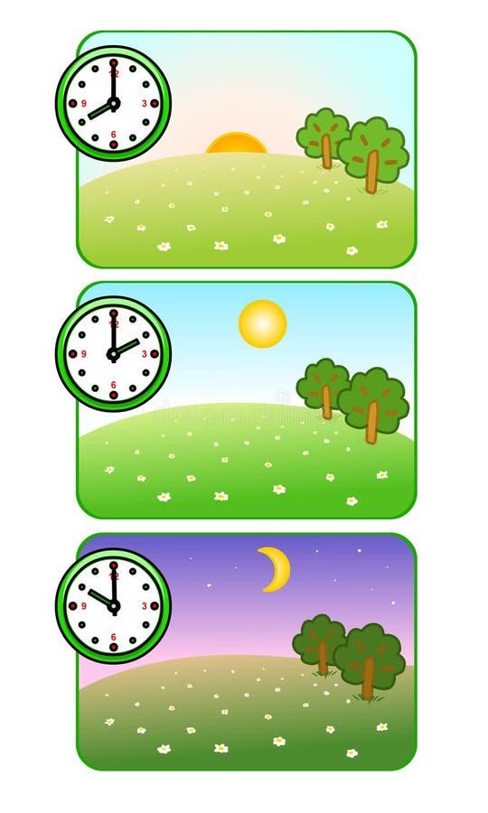 Ochtend, middag en nacht De klok toont tijd van dag Bos Open plek De zon glanst Achter de kinderen is er een groot wit zeil Maan  stock illustratie