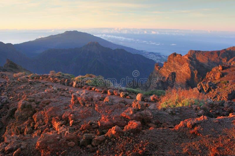 Ochtend op La Palma van Canarische Eilanden stock foto's