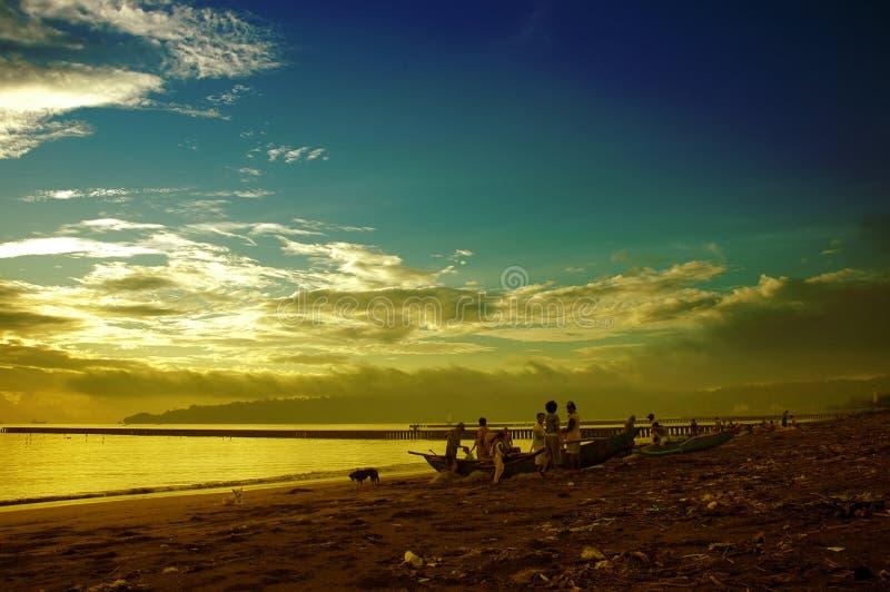 Ochtend in strand stock fotografie