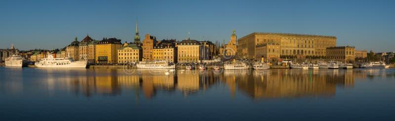 Ochtendkleuren van Stockholm, Zweden bij zonsopgang royalty-vrije stock foto's
