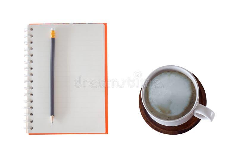 Ochtendkoffie en notitieboekje royalty-vrije stock foto's