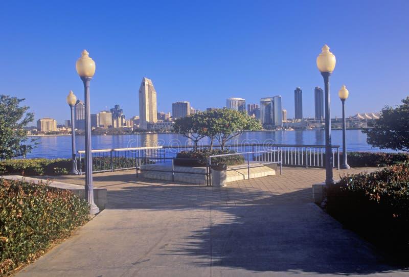 Ochtendlicht op San Diego Bay, mening van Coronado, San Diego, Californië royalty-vrije stock fotografie
