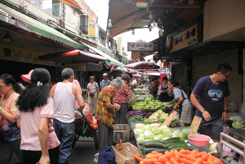 Ochtendmarkt in Taibei, Taiwan stock afbeelding