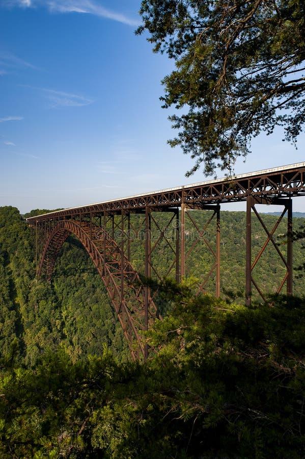 Ochtendmening van de Nieuwe Brug van de Rivierkloof - West-Virginia stock afbeelding