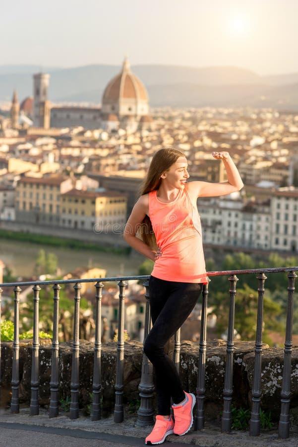 Ochtendoefening in Florence stock afbeeldingen