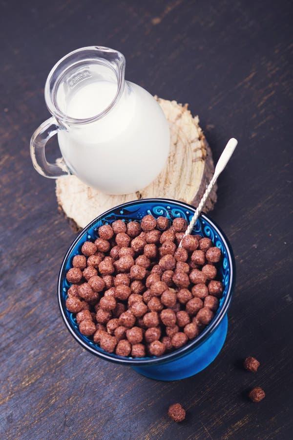 Ochtendontbijt met melk royalty-vrije stock foto
