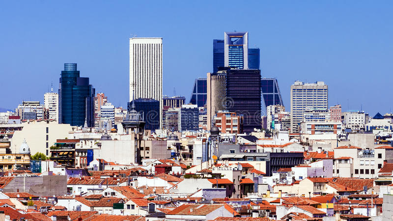 Ochtendpanorama van Madrid, Spanje royalty-vrije stock afbeeldingen