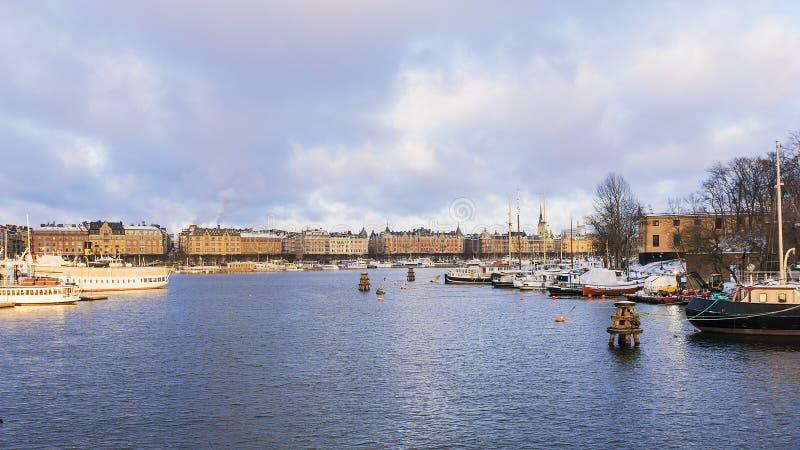 Ochtendpanorama van Stockholm, Zweden royalty-vrije stock afbeelding