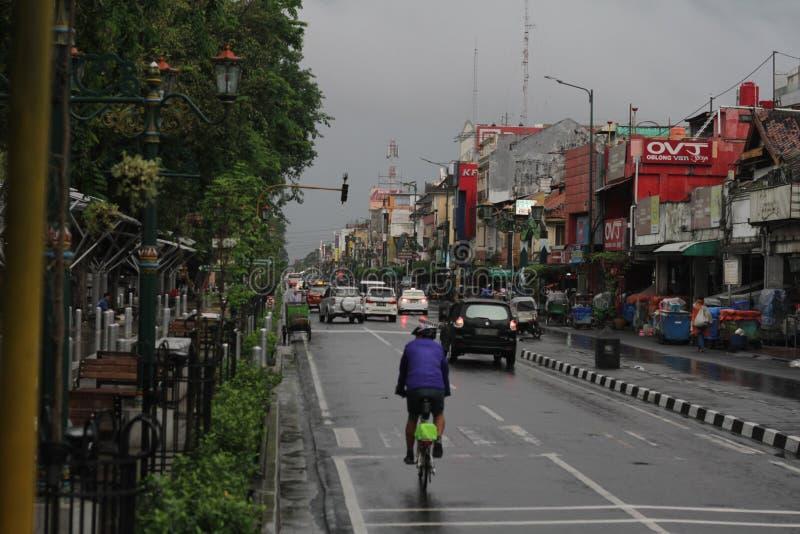 Ochtendregen in Malioboro Indonesië royalty-vrije stock fotografie