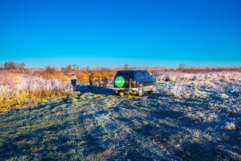 Ochtendvorst in de herfst Westelijk Siberië royalty-vrije stock foto's