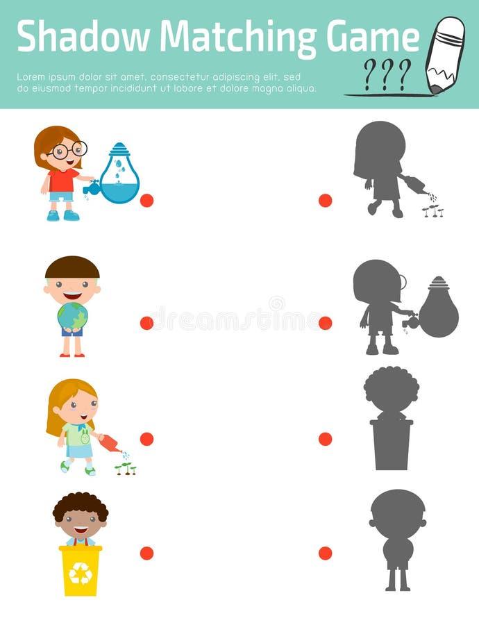 Ocienia dopasowywanie grę dla dzieciaków, edukacja wektoru ilustracja ilustracja wektor
