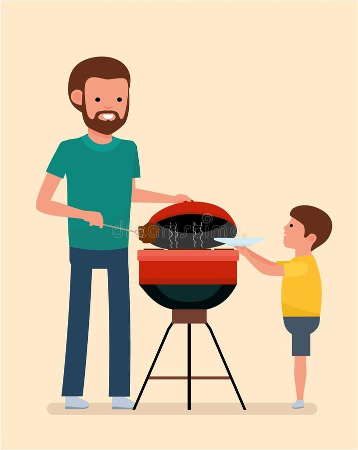 Ocio de la familia El hombre está cocinando una parrilla de la barbacoa Carne y salchichas de la fritada en el fuego ilustración del vector