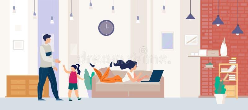 Ocio de la familia que descansa en casa concepto plano del vector libre illustration