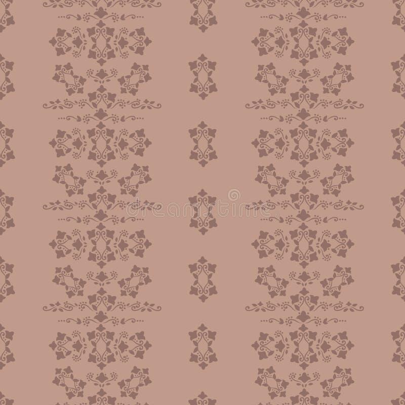 Ockerhaltige Farbretro- Hintergrund mit braunem dünnem Muster von Locken, von Blumen, von Blättern und von Punkten streifte verti vektor abbildung
