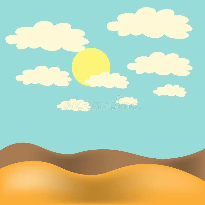 också vektor för coreldrawillustration Ökenlandskap med blå himmel, solen och moln stock illustrationer