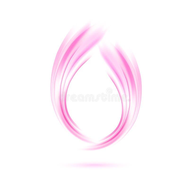 också vektor för coreldrawillustration Abstrakt knopp av mjuka rosa vågor stock illustrationer