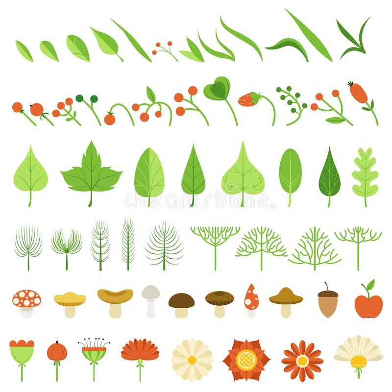 också vektor för coreldrawillustration Champinjoner, bär, blommor, örter och andra naturliga beståndsdelar vektor illustrationer
