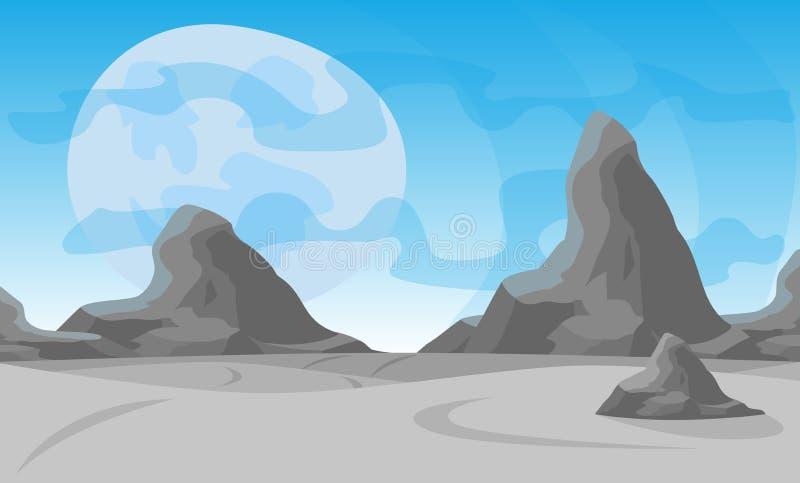 också vektor för coreldrawillustration Desertera landskapet med en kedja av höga berg på horisonten stock illustrationer