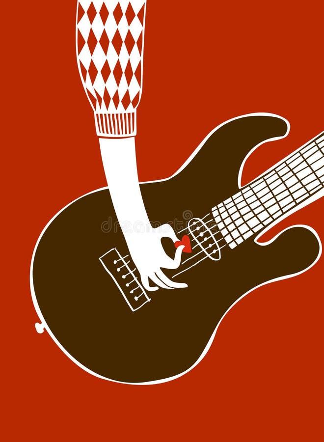 också vektor för coreldrawillustration En hand för man` s spelar gitarren med en medlare I vektor illustrationer