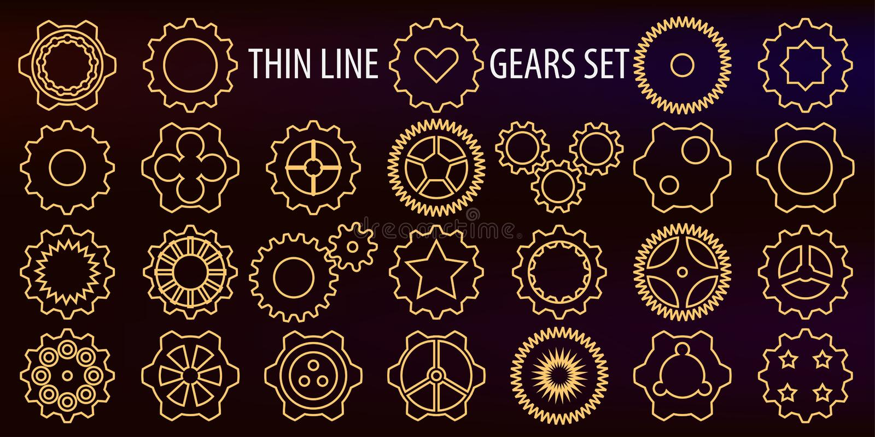 också vektor för coreldrawillustration En uppsättning av symboler i form av den tunna linjen kugghjul som ett symbol av machanica vektor illustrationer