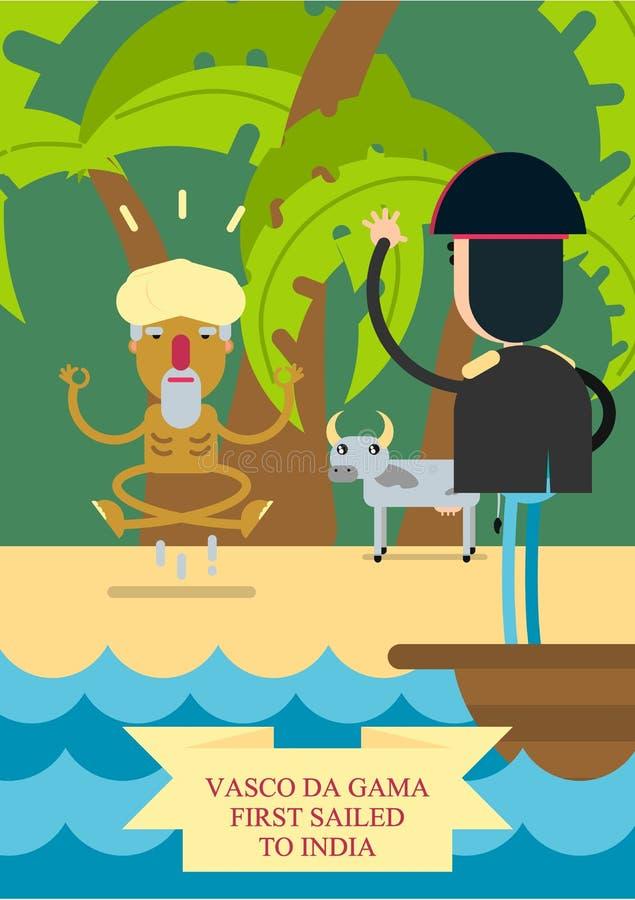 också vektor för coreldrawillustration Ett mananseende på pilbågen av skeppet simmar till kusten av Indien stock illustrationer