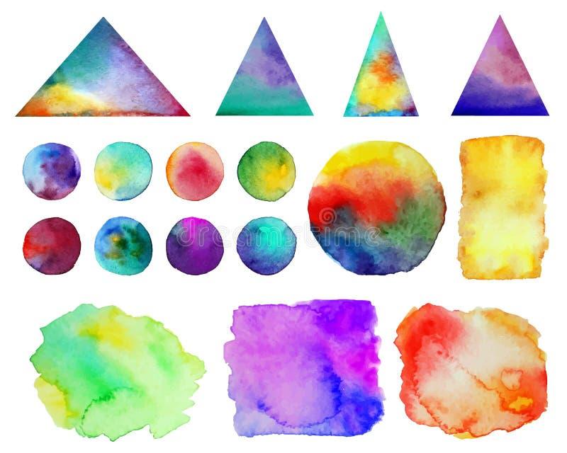 också vektor för coreldrawillustration Färgrika vattenfärgfärgstänk som isoleras på vit bakgrund Regnbågefläckar Hand dragit geom royaltyfri illustrationer