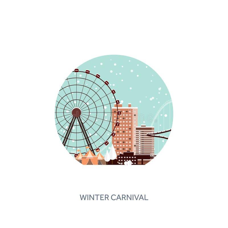 också vektor för coreldrawillustration Ferris Wheel Vinterkarneval nytt år för jul Parkera med snö och berg-och dalbanan royaltyfri illustrationer