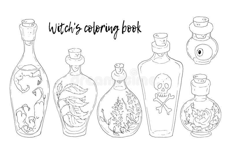också vektor för coreldrawillustration halloween Häxakitteln, skallen, sidor, pumpa, plocka svamp royaltyfri illustrationer