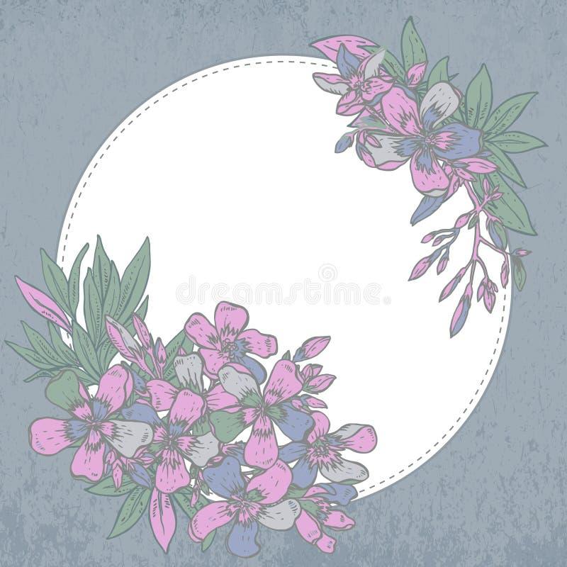 också vektor för coreldrawillustration hand dragen sammansättning av rhododendron royaltyfri illustrationer