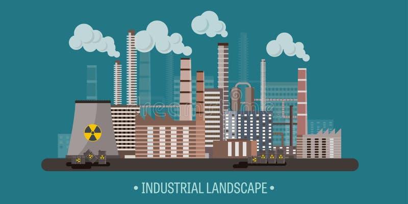 också vektor för coreldrawillustration Industriell revolution för Urbanisation rør förorening för fabrik för luftbakgrund blå Fos royaltyfri illustrationer