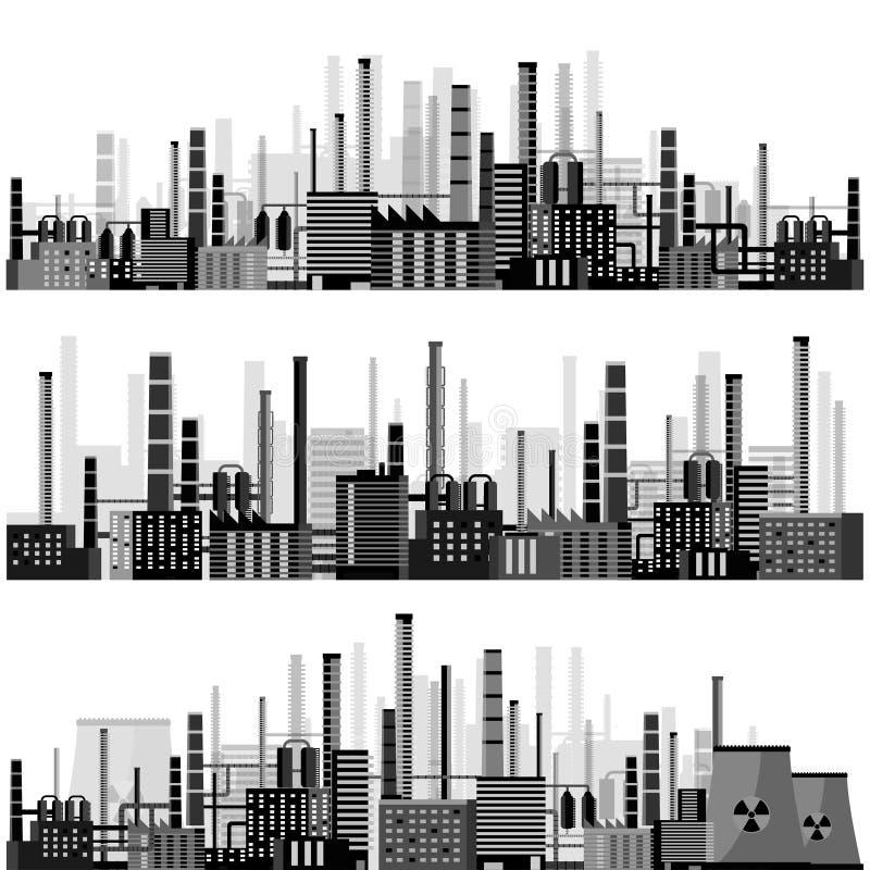 också vektor för coreldrawillustration Industriell revolution för Urbanisation rør förorening för fabrik för luftbakgrund blå Fos stock illustrationer