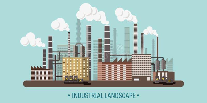 också vektor för coreldrawillustration Industriell revolution för Urbanisation rør förorening för fabrik för luftbakgrund blå Fos vektor illustrationer
