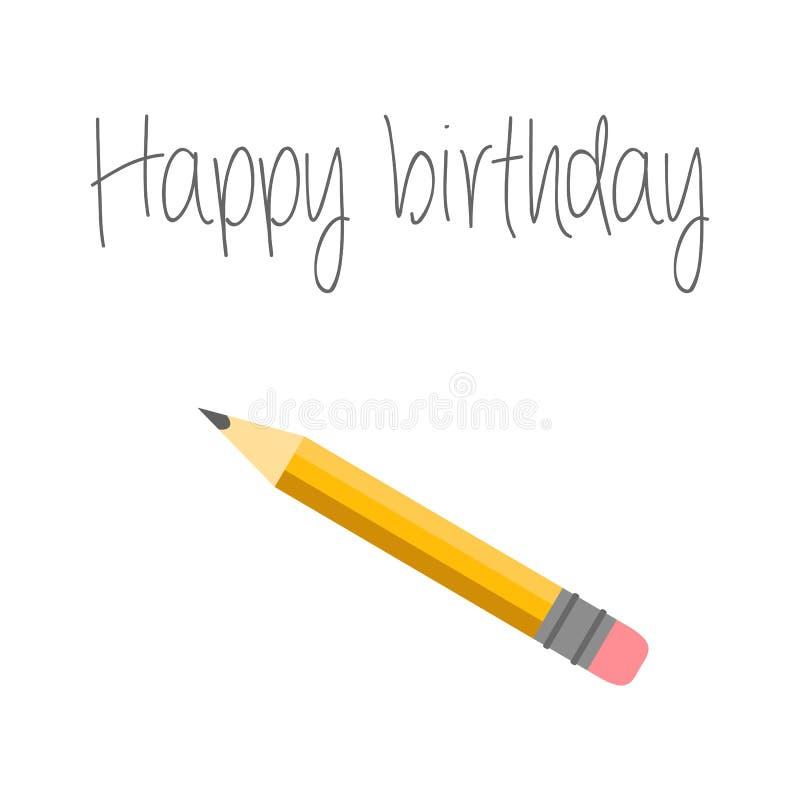 också vektor för coreldrawillustration Kort för lycklig födelsedag med blyertspennan och inskriften Blyertspennan spårar vektor illustrationer