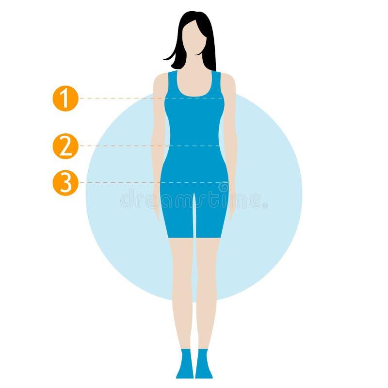 också vektor för coreldrawillustration Kvinnamätningen för ditt shoppar royaltyfri fotografi