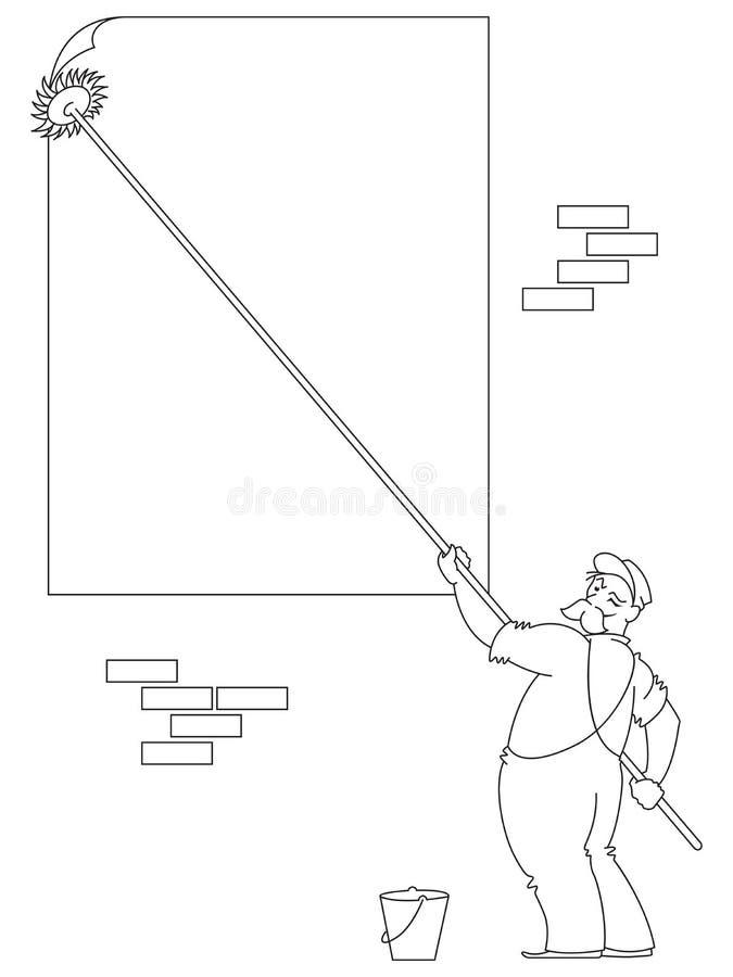 också vektor för coreldrawillustration Linje diagram Arbetaren limmar borsteaffischen royaltyfri illustrationer