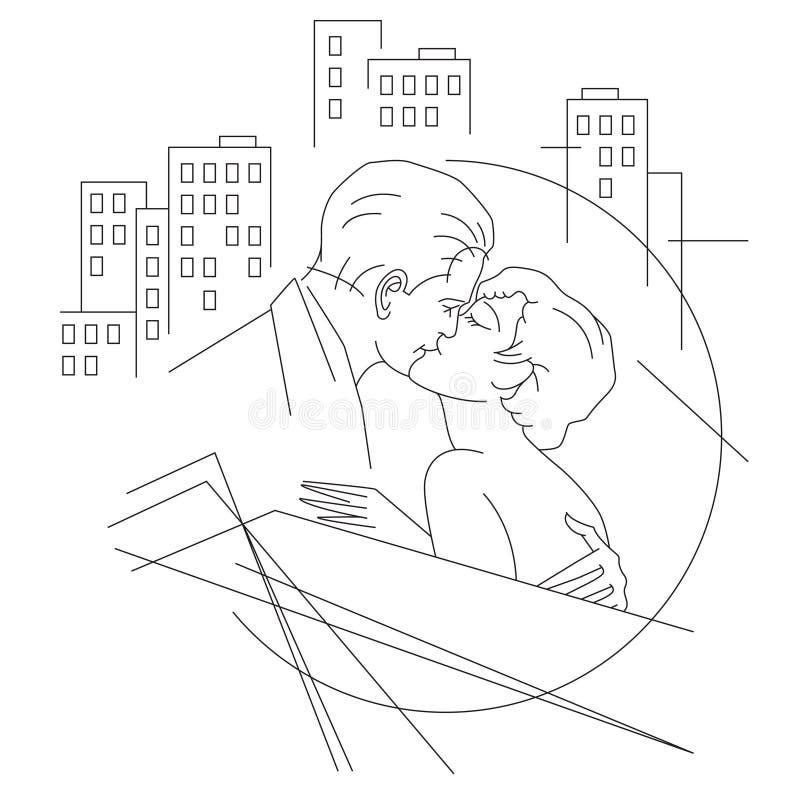 också vektor för coreldrawillustration Linje diagram Förälskat folk i stad vektor illustrationer
