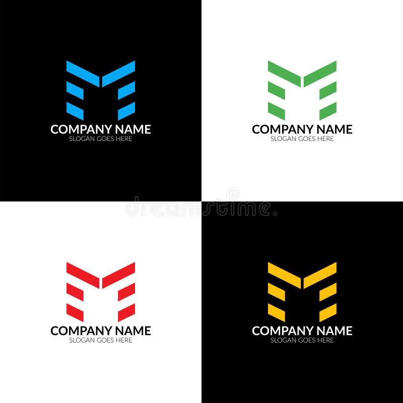 också vektor för coreldrawillustration Logoen för bokstav M, symbolslägenheten och vektorn planlägger mallen royaltyfri illustrationer