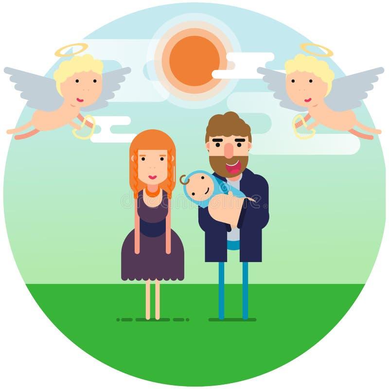 också vektor för coreldrawillustration Lyckliga föräldrar med ett nyfött barn under himlen med änglar royaltyfri illustrationer