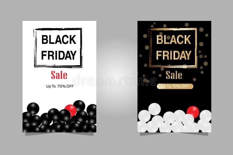 också vektor för coreldrawillustration Lyxig text för baner för uppsättningBlack Friday försäljningar för broschyr, reklamblad oc stock illustrationer