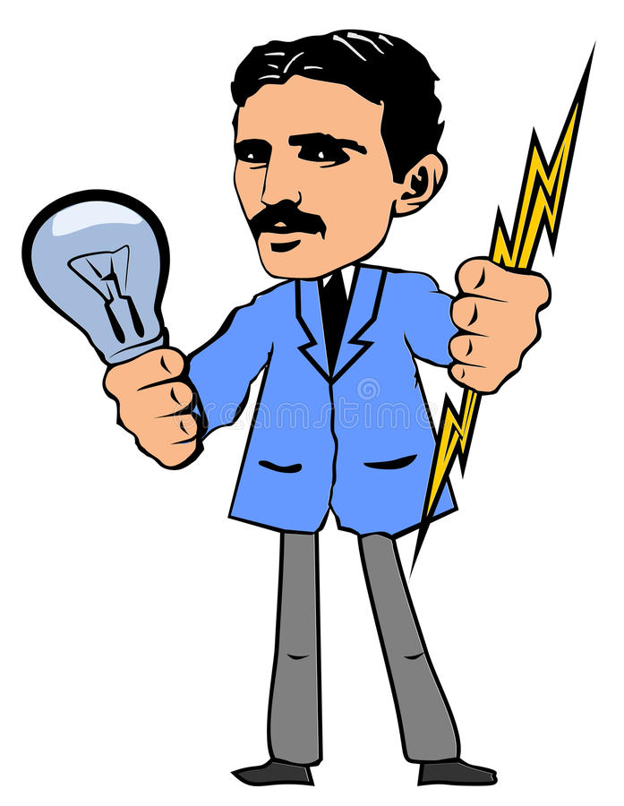 också vektor för coreldrawillustration Nikola Tesla stock illustrationer