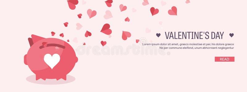 också vektor för coreldrawillustration Plan bakgrund med spargrisen dekorativ hjärtaillustrationförälskelse red steg var min vale stock illustrationer