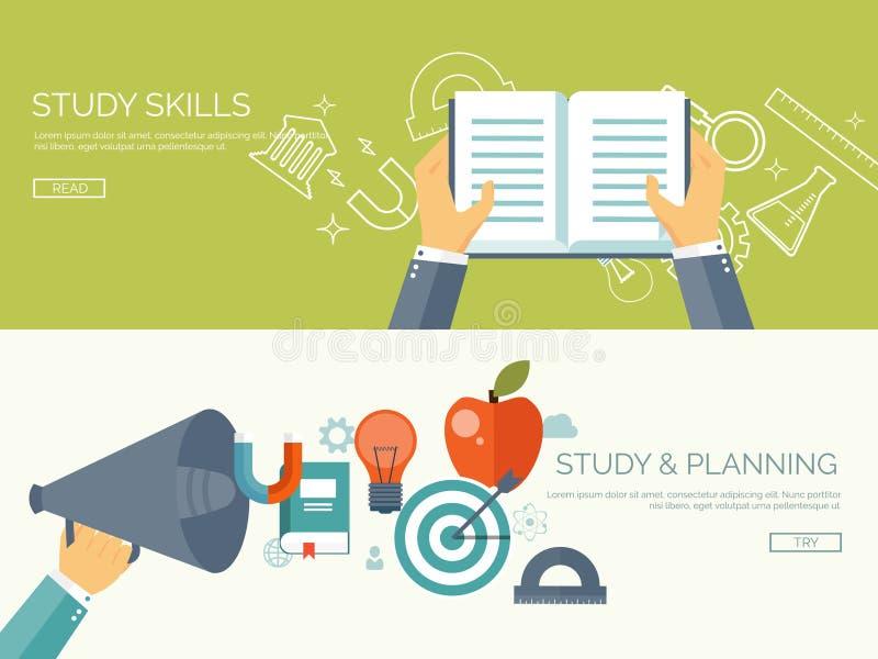 också vektor för coreldrawillustration Plan studiebakgrundsuppsättning Bok högtalare Utbildning online-kurser, rengöringsduktutor stock illustrationer
