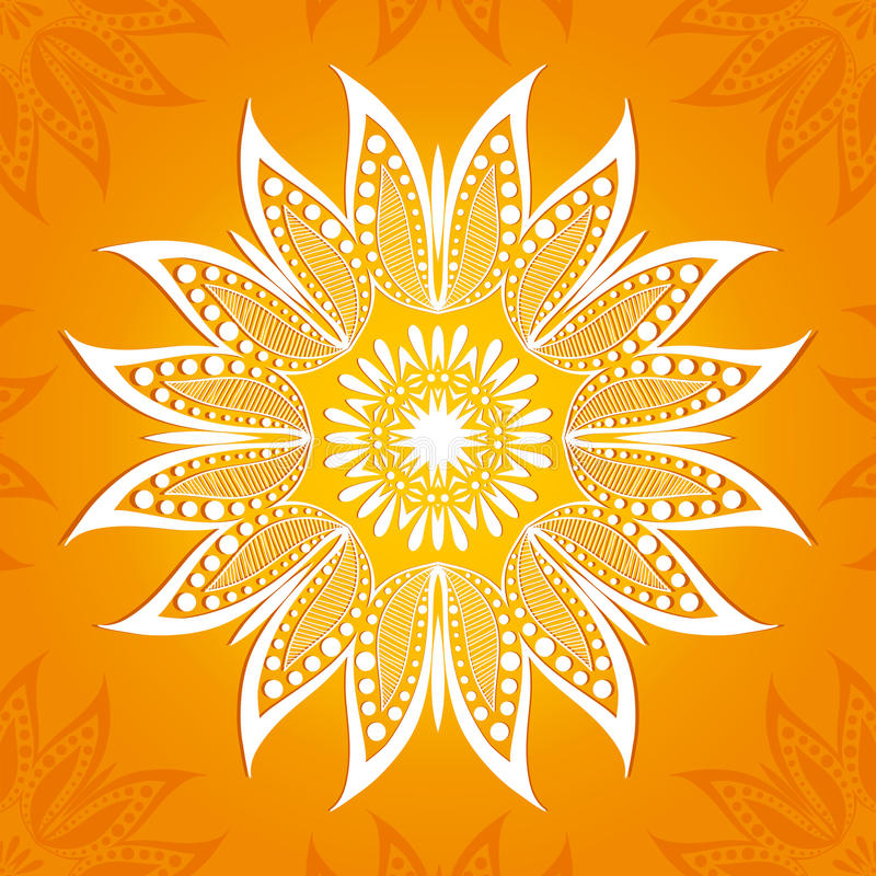 också vektor för coreldrawillustration Rund modell för blomma En stiliserad teckning mandala Stiliserad lotusblommablomma royaltyfri illustrationer